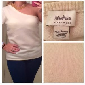 NEIMAN MARCUS CASHMERE ONE SLEVE KNIT TOP