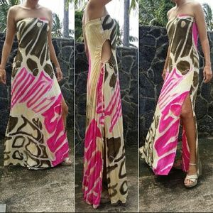 Indah allegra maxi dress pink wing print strapless