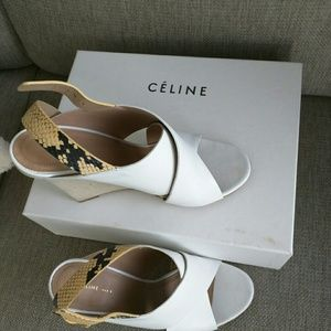 85127401def Celine Shoes - Celine White Leather and Snakeskin Wedge Sandals