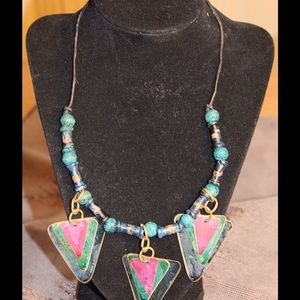 Multi Colored Triangle Necklace