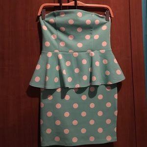 FINAL PRICE  Polka dot peplum dress