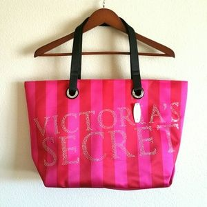 Victoria's Secret striped pink satin tote bag