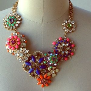 JCrew Floral Jeweled Bib Necklace