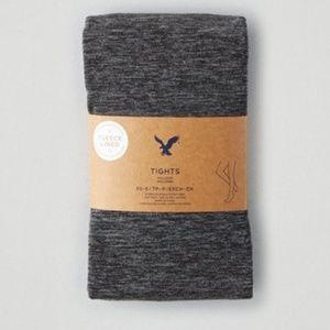 American Eagle Outfitters Accessories - New American Eagle Charcoal Fleece Footed Tights