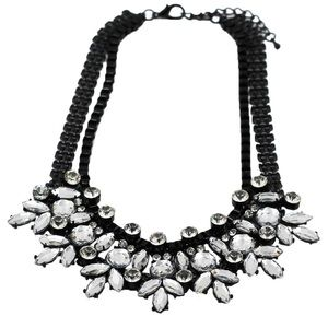 Black Crystal flower necklace