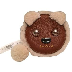 NEW Coach Leather and Shearling Bear Coin Case