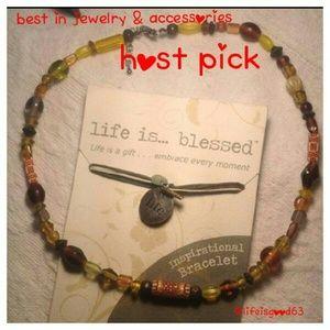 Inspirational bracelet and beaded necklace