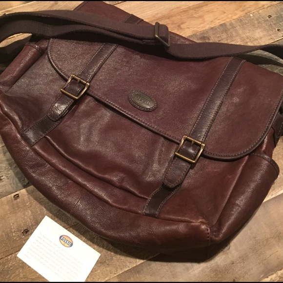 Fossil Handbags - Fossil Genuine Leather Messenger Bag-Price Firm
