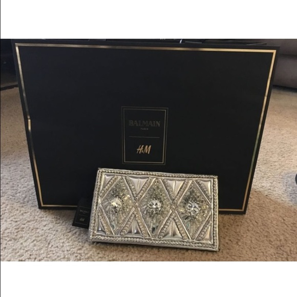large discount outstanding features order online Balmain x H&M Leather Beaded Clutch NWT