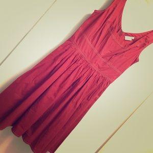 full skirt sleeveless red dress
