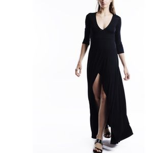 X Faux Wrap Slit Maxi Dress