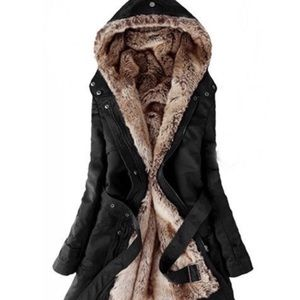 Jackets & Blazers - Black hooded faux fur coat