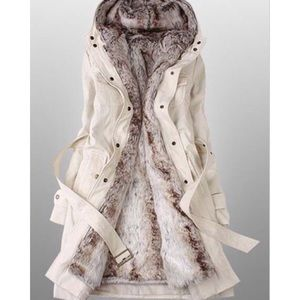 Jackets & Blazers - Beige hooded faux fur coat