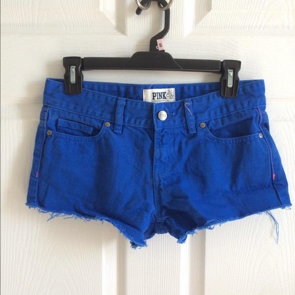334dbae8358a5 Victoria Secret PINK royal blue jean shorts NWT
