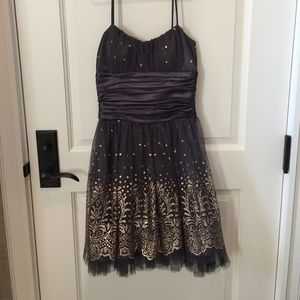 Grey dress with gold sparkles