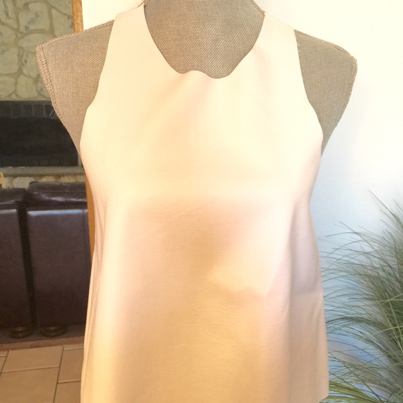 e80b6b61a3aaac Zara Tops   White Faux Leather Tank Top In Front   Poshmark