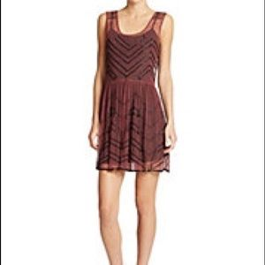 FREE PEOPLE: maroon/black beaded dress Sz s