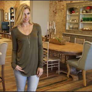 Olive long sleeve V neck