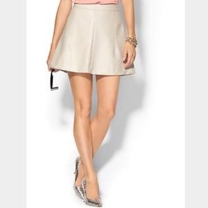 Tinley Road Dresses & Skirts - Cream sand ivory vegan leather a-line flare skirt