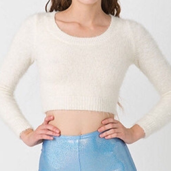 62% off American Apparel Sweaters - American Apparel Fuzzy Cropped ...