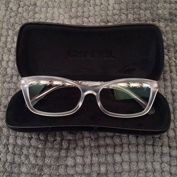 faf4219b173 Chanel frosted clear eye glasses with chain