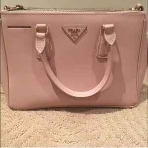 black leather prada tote - 85% off Prada Handbags - Prada Saffiano Lux Small Pink Blush Tote ...