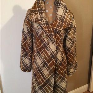 Classic Plaid Full Length Tweed Coat