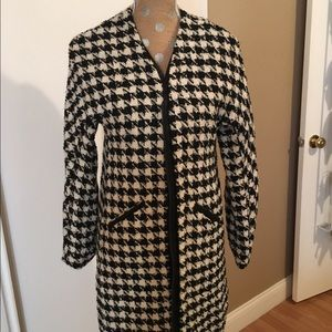 Black and White Checked Car Coat