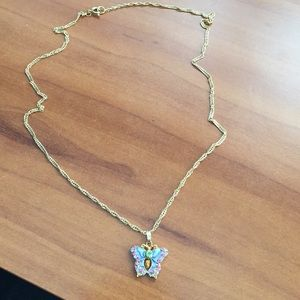 Butterfly necklace on gold chain