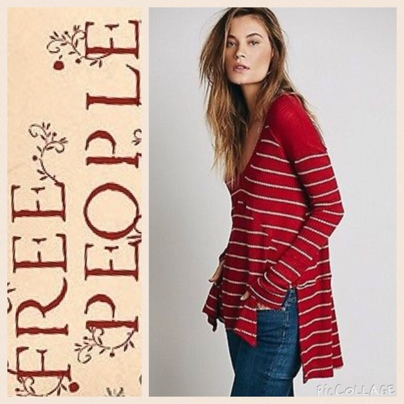 37d7857e8c6 Free People Tops | New Sunset Park Thermal In Chili Red | Poshmark