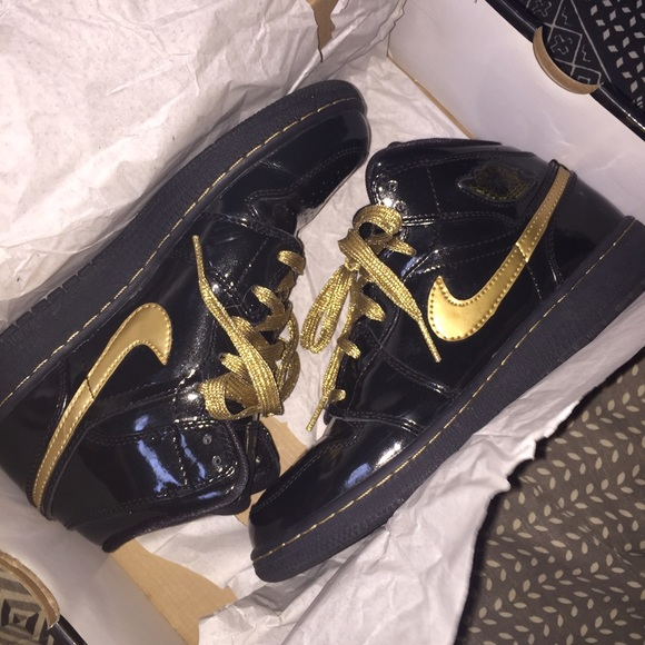 Jordan Shoes - Air Jordan 1 Patent Leather black   gold (Phat) dc9a4b461a