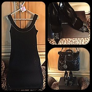 St. John Dresses & Skirts - Elegant black St. John knit dress with sequins