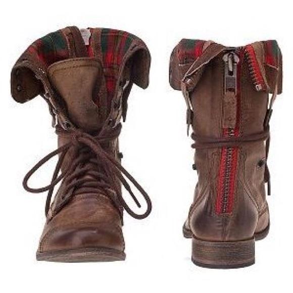 74% off Steve Madden Shoes - Steve Madden Combat Boots Red Zipper ...