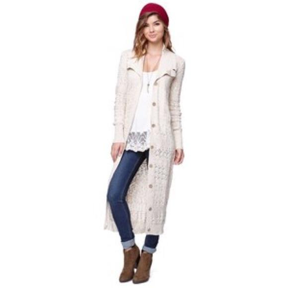 54% off Roxy Sweaters - Roxy Pointelle Duster Sweater Maxi ...