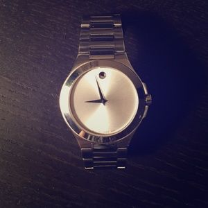 Men's Movado stainless steel watch with pearl face