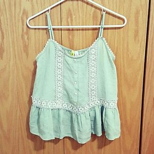 Francesca's Collections Tops - Mint Green Lace and Button Tank Top