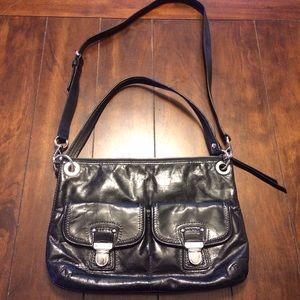 Coach Patent Leather Poppy Crossbody Bag Black