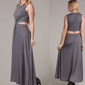 Grey Cut Out Maxi Dress