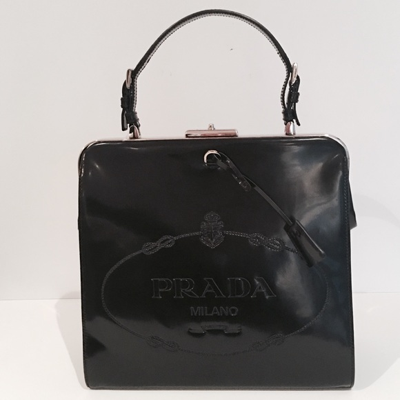 786342bad0ae AUTHENTIC NWT PRADA LEATHER LOGO EMBOSSED BAG