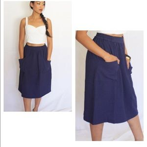 Navy Pocket Midi Skirt