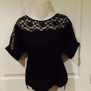 NWOT Guess black top with lace sz medium