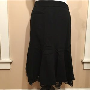 NWT Loft wool skirt with lace hem