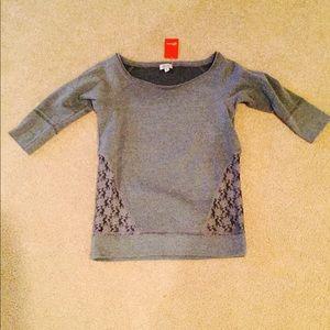NWT Guess gray 3/4 sleeve sweatshirt sz medium