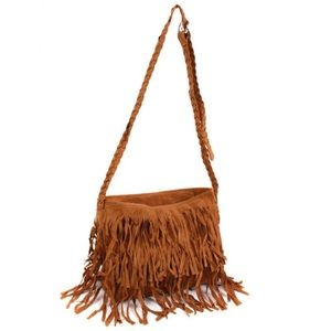 Camel fringe cross body purse Light Brown