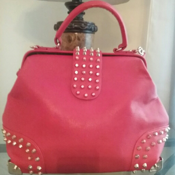 57% off Pink Cosmo Handbags - Large Red Purse With Gold Studs from ...