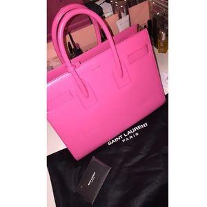 Ysl hot pink leather handbag
