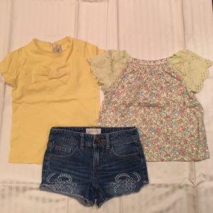 3 pieces bundle. Adorable t shirts & denim shorts