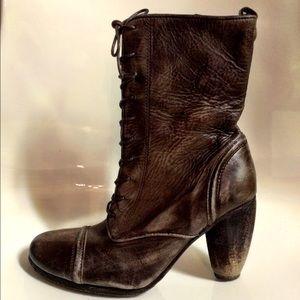 All Saints Shoes Allsaints Brown Leather Lace Up Heels