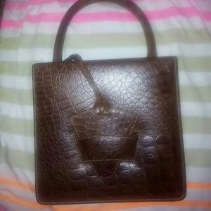 Croc embossed square mini bag