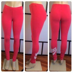 Nike Logo Red/White Leggings Workout Pants